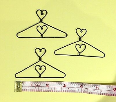 "12X  Mini Wire Coat Hangers  3"" (Heart in Centre & on Top))"