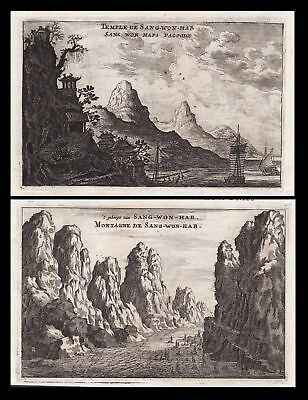 1670 Sang-Won-Hab China mountain pagoda view Kupferstich antique print Nieuhof