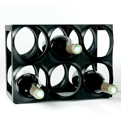 Nuance 6 Bottle Plastic Wine Rack Bar Organiser/Storage/Holder Shelf Stand Black