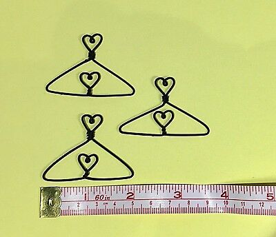 "12X  Mini Wire Coat Hangers  2"" (Heart in Centre & on Top)"