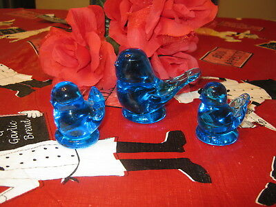 3 Glass Bluebirds - 1 lg and 2 sm - All are signed 1991, 1993 & 1998 Pre-owned