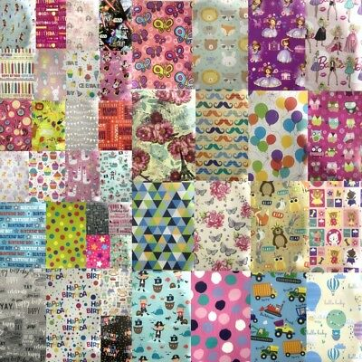 2 Sheets Gift Wrapping Paper Boy Girl Mens Womens Present Packing Wrap Assorted