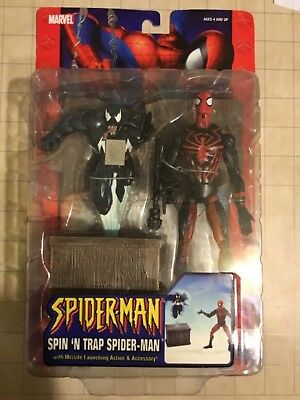 "Spider-Man Spin 'n Trap Action Figure 6"" Classic 2005 Marvel Venom *new On Card*"