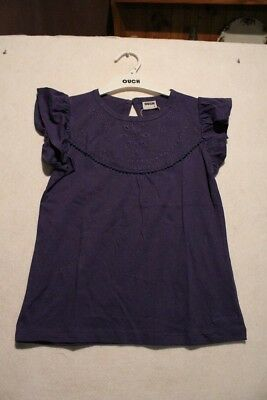 Girls Size 4 Ouch Summer  Navy Frilled Sleeves Top NWT