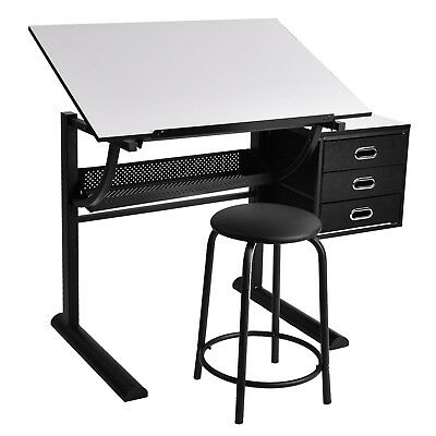 Art Craft Drafting Table Drawing Desk & Stool Set Hobby with Drawers,Shelf