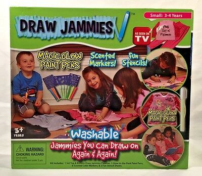 Draw Jammies Washable Pajamas You Can Draw On Girls Pink Size Small