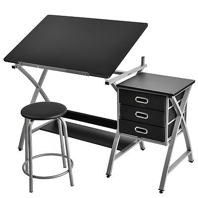 Drafting Table Drawing Desk Art Hobby Folding Adjustable with Stool,Drawer Black