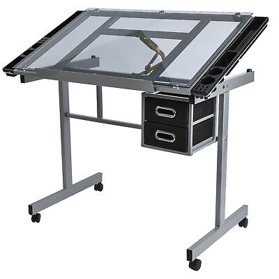Adjustable Drafting Drawing Craft Table Art Glass Desk with Drawers Storage