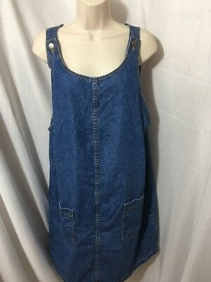 #399--  Motherhood Blue Denim Jumper Dress, Size M.