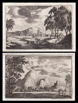 China Xiajiang city mountains Ansicht view Kupferstich antique print Nieuhof