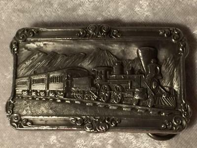 Train Belt Buckle 1984 By Siskiyou Buckle Co Pewter Finish Vintage