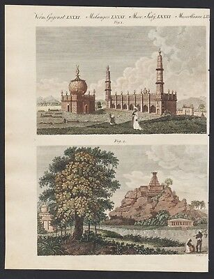 1800 - Arcot Vellore India mosque pagoda Indien engraving antique print Bertuch
