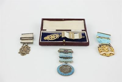 Lot of Vintage MASONIC STERLING SILVER Medals inc York Lodge , Boxed 121g