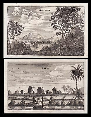 1670 Sahu Sanshui Guangdong China Ansicht view Kupferstich antique print Nieuhof