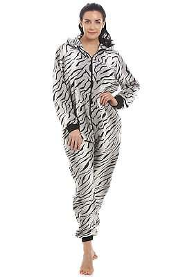 Camille Womens Ladies Supersoft Grey Snow Tiger All In One Romper Sleepsuit