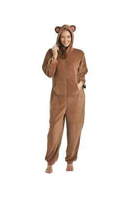 Camille Womens Nightwear Brown Mouse Character Hooded All In One Sleepsuit