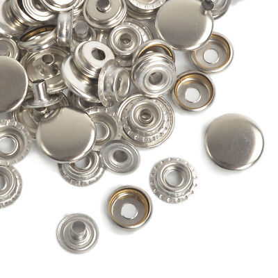 Silver 12.5/15/17mm x 15/50/100 Leather Craft Press Studs Snap Fasteners Poppers