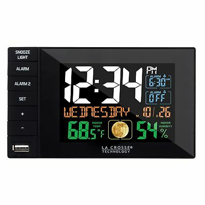 La Crosse Technology C87207 Color Dual Alarm Clock with USB Charging Port New