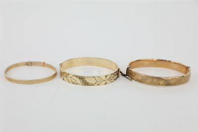 3 x Vintage 9ct Gold Hinged Bangles Mixed Designs Inc.Floral Engraving  -42g
