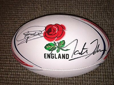 Genuine Hand Signed England Rugby Ball By Martin Johnson & Jonny Wilkinson