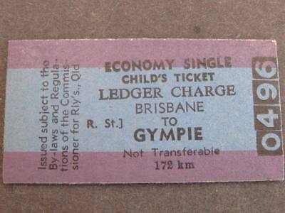 BRISBANE to GYMPIE ECON SINGLE CHILD'S LEDGER CHARGE TICKET  QUEENSLAND RAILWAYS