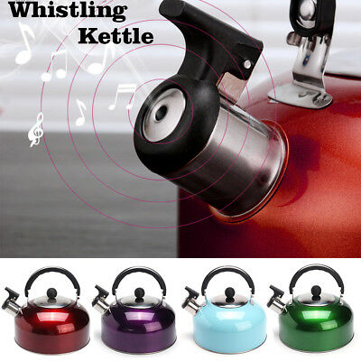 3L Whistling Kettle Stainless Steel Silver Tea Teapot Camping Stove Top Tone
