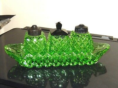 Striking Green Cut Glass Cruet Set