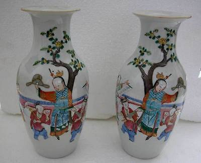 A Stunning Antique Pair Of Chinese Hand Painted And Decorated Porcelain Vases