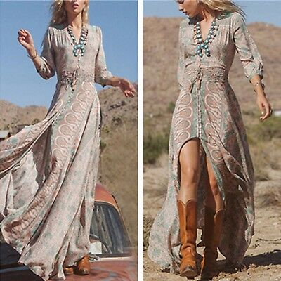 Women Boho HIPPIE GYPSY ETHNIC V Summer Party Beach Long Maxi Dress Sundress T1R