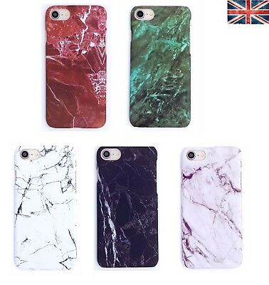 Glossy Granite Marble Hard Case PC Phone Cover Apple iPhone 7 Plus 6 5 X 8 XS XR