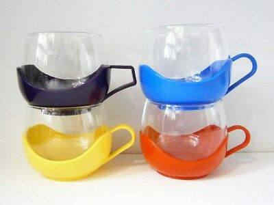 4x FUNKY VINTAGE GLASS MUGS with RED, YELLOW, BLUE & PURPLE PLASTIC BASES