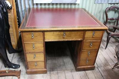 A Good Sized Vintage Partners Desk with Leather Inset Top