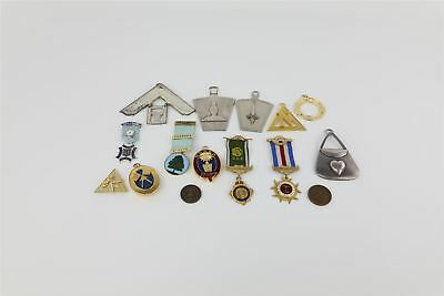 Lot of 15 x Vintage MASONIC & R.A.O.B Base-Metal Medals & Jewels Etc
