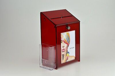 Lockable Collection / Suggestion Box+ 1/3rd A4 Leaflet Holder PDS9463 LH RedTint