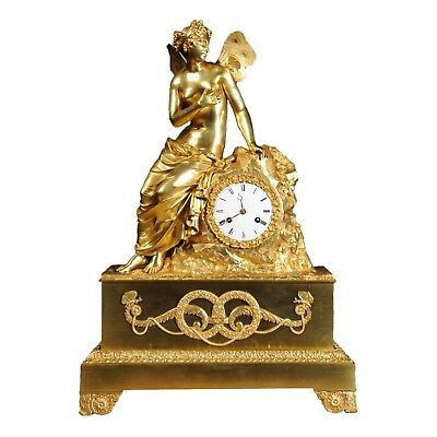 EARLY FINE BRONZE DORE ORMOLU ANTIQUE FRENCH CLOCK PSYCHE and the BUTTERFLY 1820