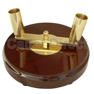 Twin Pole Ceremonial Flagpole Base, Dark Wood With Brass Holder