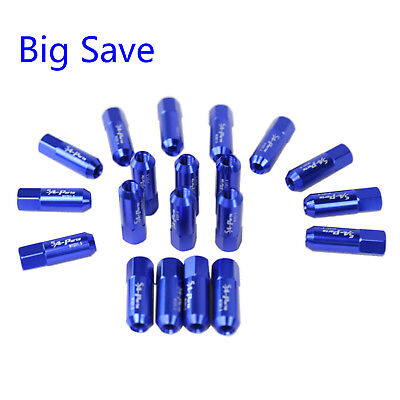 20PC Blue JDM M12X1.5 60MM Extended Forged Aluminum Tuner Racing Lug Nut Set
