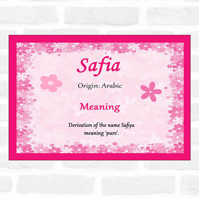 Safia Name Meaning Pink Certificate