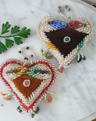 Two antique IROQUOIS BEAD Heart Shape pin cushions