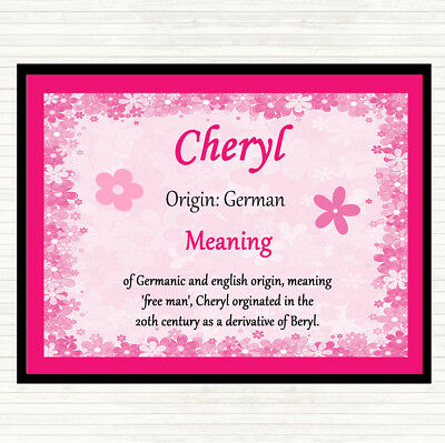 Cheryl Name Meaning Mouse Mat Pad Pink