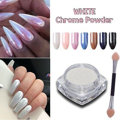 WHITE CHROME NAIL POWDER Diamond Ceramic Pigment Nails Art Crystal Shiny Dust M4