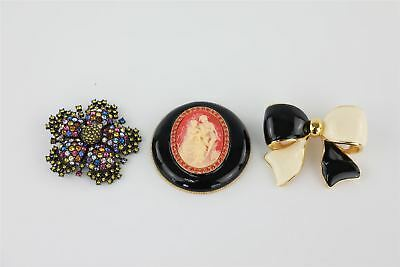3 lovely statement brooches by JOAN RIVERS inc a striking cameo