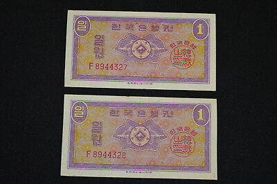 1962 Pair South Korea 1 Won Notes, Two Consecutive Number Banknotes, Very Nice