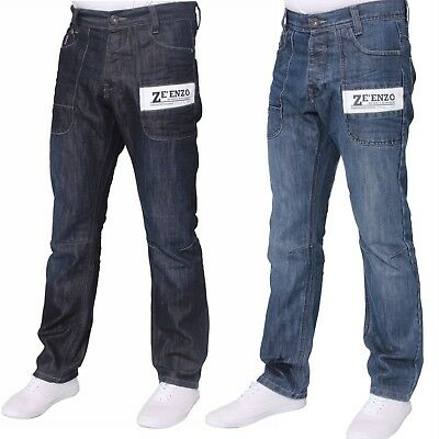 New Mens Enzo Jeans Straight Leg Regular Fit Dark Mid Wash All Waist Sizes