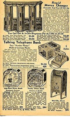 1947 small Print Ad of Talking Telephone Bank Mail Box Popeye & Lucky Dime Bank