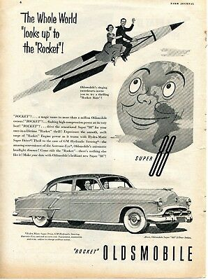 1952 Print Ad of GM Oldsmobile Olds Rocket Powered Super 88 w Johnny & Lucille