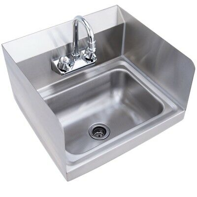 NSF Stainless Steel Hand Washing Sink with Chrome Gooseneck Faucet Wall Mount US