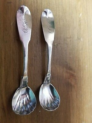 2 A JACKSON  Sterling Silver Mini Salt Spoons Monogramed shell shape 3 1/2""