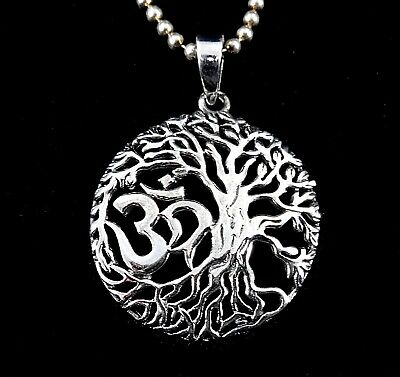 Handcrafted Solid 925 Sterling Silver OM/AUM Tree of Life Pendant