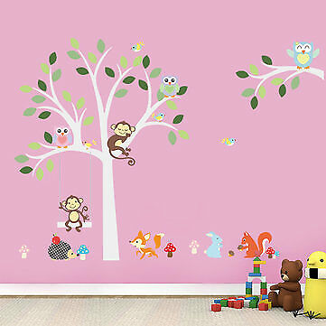 Baby Kids Room Decor Jungle Animal Owls Monkey Tree Wall Stickers Decoration